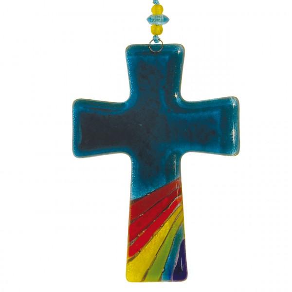 Kreuz Regenbogen blau