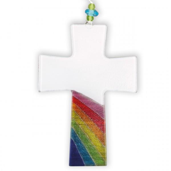 Kreuz Regenbogen weiss
