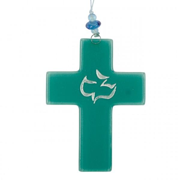 Taufkreuz mit Taube grün