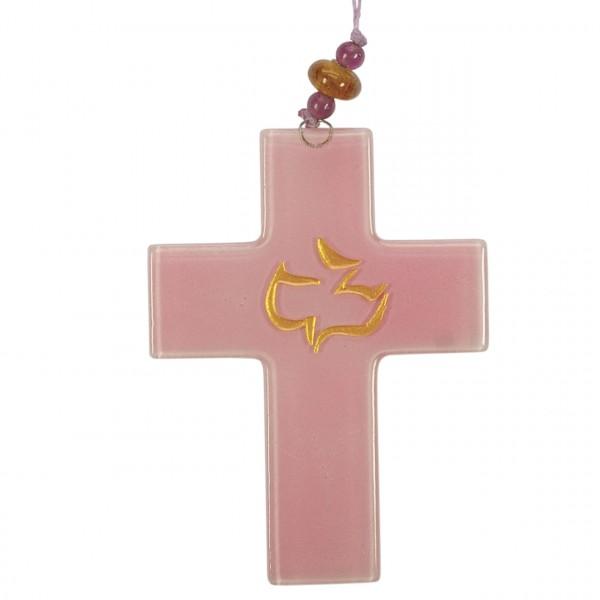 Taufkreuz mit Taube rosa